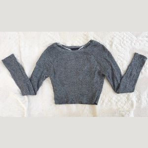 Cropped long sleeve grey sweater